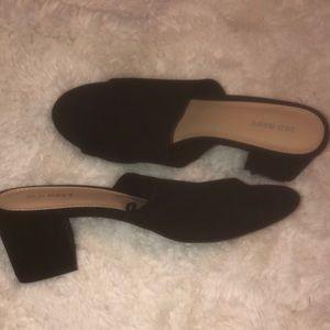 Black Velvet Slip-on Heels